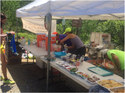 Tahoe Mountain Milers Aid Station on Canyons 100K Race Course